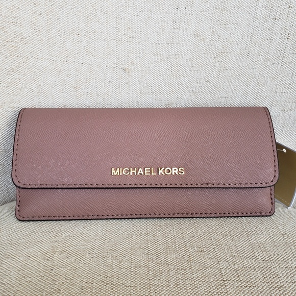 e7085c5aece3 NWT Michael Kors Jet Set Slim Wallet Dusty Rose MK